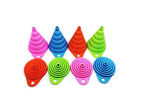 Silicone Funnels Set /Collapsible Funnel /Folding Funnel for Liquid Transfer-4Pcs-4Color (Pink,Green,Orange-Red,Blue) Food Grade Silicone