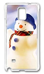 Adorable Happy Snowman Christmas Hard Case Protective Shell Cell Phone HTC One M7 - PC Transparent