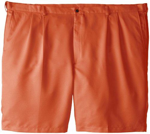 Haggar Men's Big-Tall Cool 18 Expandable Waist Pleat Front Solid Gabradine Short, Tangerine, 46 (Golf Pleats Shorts)