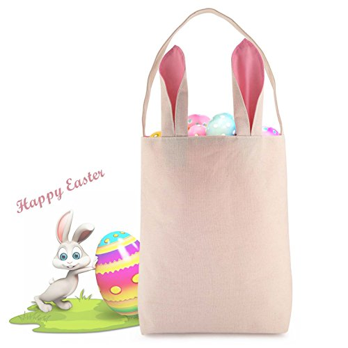 Pink Easter Bag Bunny Ear Bucket For Girls Easter Egg Hunts Basket Party / Carry Gifts, Eggs, Personal Items Easter Basket Bunny Ear Bags For Girls- (Personal Easter Baskets)