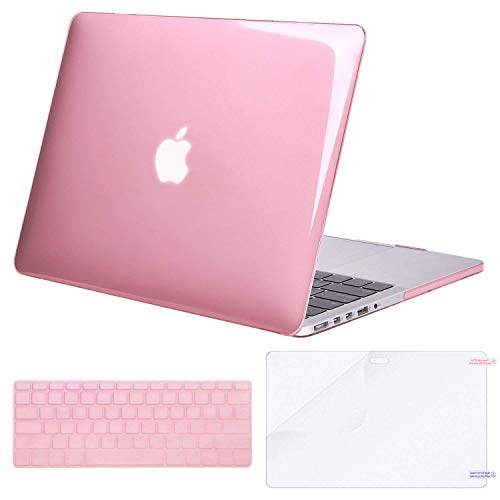 MOSISO Case Only Compatible MacBook Pro (W/O USB-C) Retina 13 Inch (A1502/A1425)(W/O CD-ROM) Release 2015/2014/2013/end 2012 Plastic Hard Shell & Keyboard Cover & Screen Protector, Crystal Pink