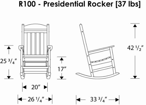 POLYWOOD R100WH Presidential Outdoor Rocking Chair, White