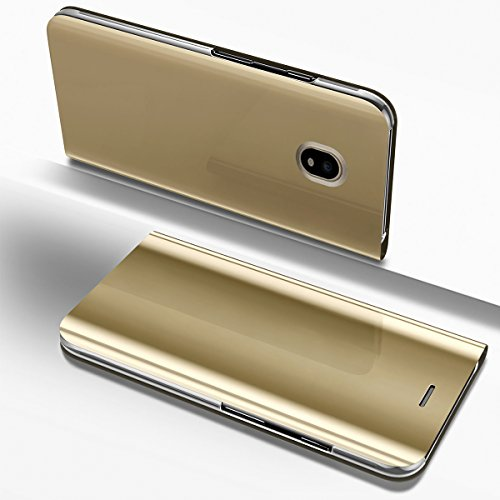 PHEZEN Galaxy J7 Pro 2017 Case, Luxury Mirror Makeup Case Plating PU Leather Flip Folio Wallet Case [Kickstand Feature] Magnetic Closure Full Cover Case for Samsung Galaxy J7 Pro 2017 J730 (Gold) by PHEZEN