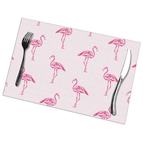 Nice Music Flamingo Wallpaper 6 Piece Set of Placemats Pc Party Kitchen Dining Room Home Table Place Mat Patio Holidays Decorations Decor Ornament Themed Print Pattern Kid Girls]()