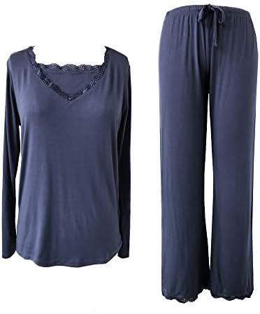 Sleepytime Sleepy Time Women's Bamboo Pajamas, Hot Flash Menopause Relief PJS, V Neck