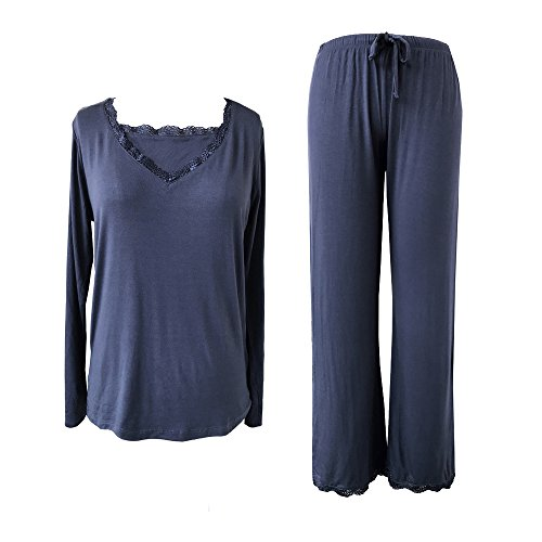 Sleepy Time Women's Bamboo Pajamas, Hot Flash Menopause Relief PJS, V Neck (X Large, Blue) ()
