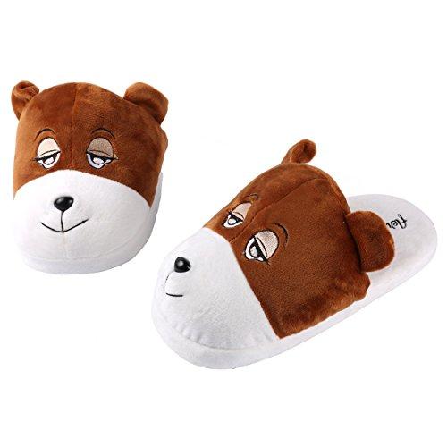 Plush Unisex Universal Slippers Medium fit Bear Animal Aerusi Adult's EHdqwqO