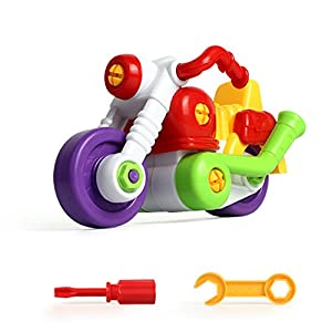 Toddler Baby Toy Construction Vehicles Push and Go Play Vehicles Take Apart Toy Cartoon Play Motorbike Push And Go Friction Powered Car for Children Kids