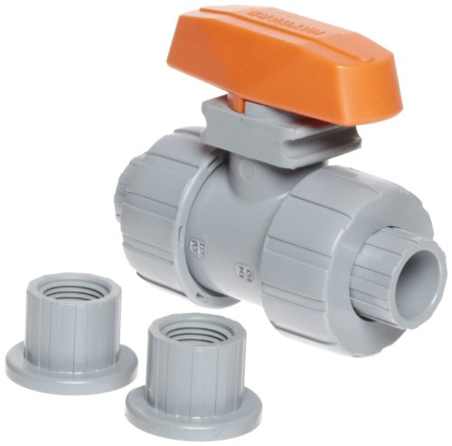 Hayward TB2050STE Series TB True Union Ball Valve, Socket/Threaded End, CPVC with EPDM Seals, 1/2