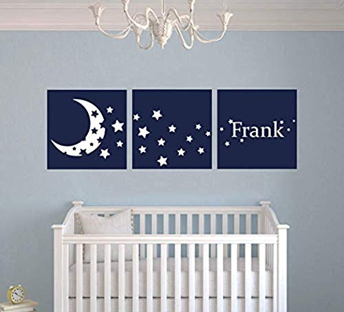 Wall Vinyl Decal Home Decor - Art Sticker Custom Name Moon and Stars Frames Series Nursery Baby Room - Home Room Removable Mural ()