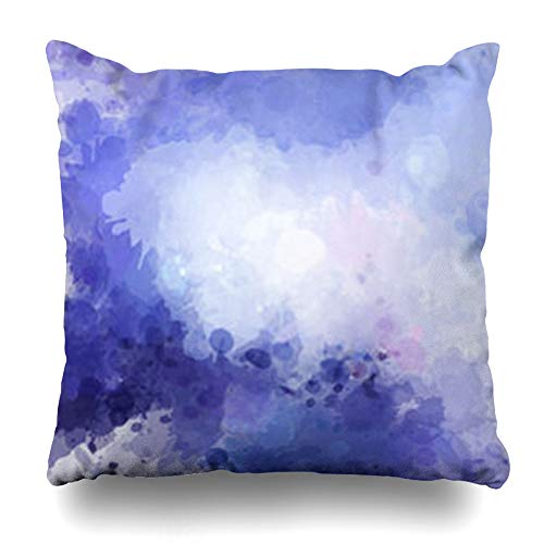 - DaniulloRU Throw Pillow Covers Spring Purple Artistic Watercolor Stains Splatter Splash Hue Abstract Pattern Blue Blot Brush Color Home Decor Sofa Cushion Cases Square Size 18 x 18 Inches Pillowcase