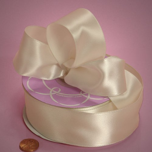 Ivory Wired Satin Ribbon - Ivory Wired Satin Ribbon, 2-1/2