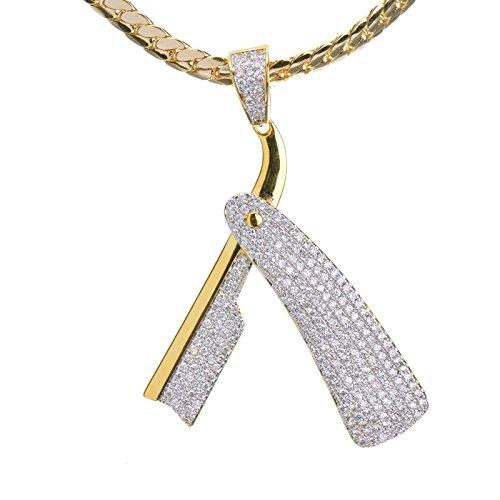 Metaltree98-Mens-New-Micro-Mini-Pave-Brass-Edge-Barber-Razor-Pendant-With-24-Miami-Cuban-Chain-BCH-15107G