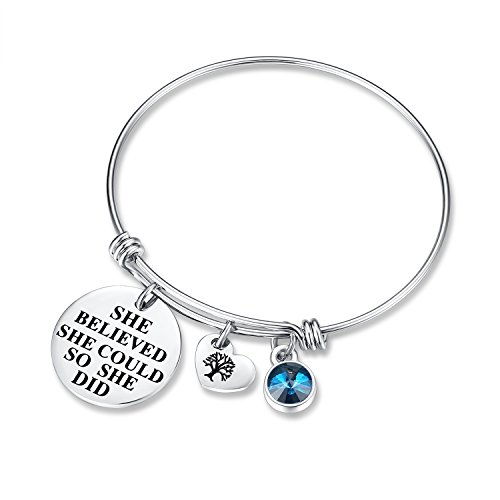 December Birthstone Charm Bracelet - She Believed She Could So She Did Bracelets, Birthday Jewelry Gifts Heart Tree of Life for women girls her mom mother daughter wife sister friendship ()