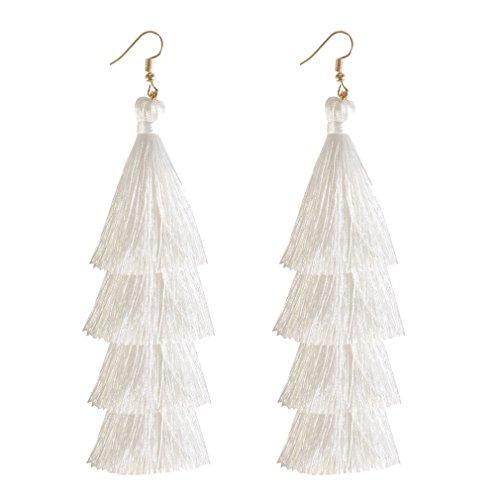 (HSWE Tassel Earrings for Women Hula Skirt Thread Fringe Earrings for Girls Tiered Dangle Earrings White)