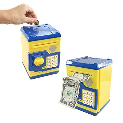 SZAT Funky Quality Electronic Money Bank Piggy Money Locker Coins Cashes Auto Insert Bills Safe Box Password ATM Bank Saver(Yellow)