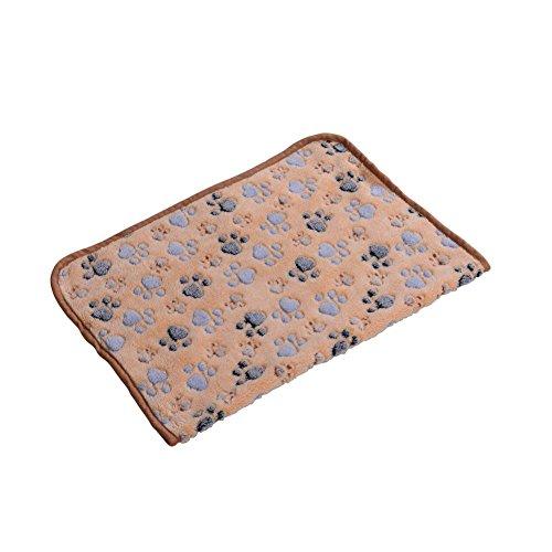 Embroidered Dog Beds - OMEM 2 PCS Dog Blanket for Pet Cushion Dog/Cat Bed Soft Warm Sleep Mat, Puppy Kitten Soft Blanket Doggy Warm Bed Mat Paw Print (S, Brown)
