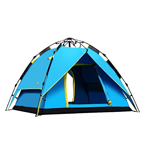 適格ほのか家具TY&WJ キャンプテント,全自動 テント 二重層 防雨 ドームテント ポータブル折りたたみ ティーピー アウトドア スポーツの 旅行 ハイキング 3-4 人