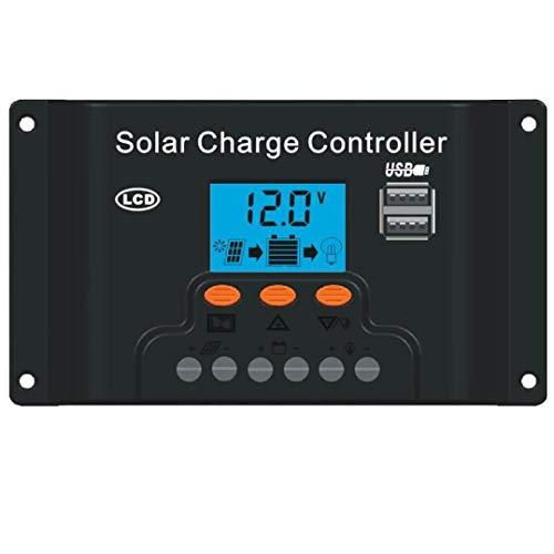 Sonmer Dual USB Backlight LED Solar Panel Regulator Charge Controller 12V-24V (30A)