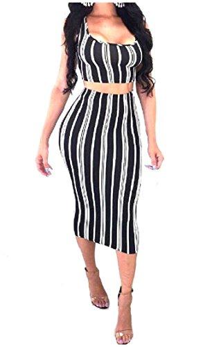 Un Donne Vestiti 2 Ad Colorate Strisce Vestito Collare U Pezzi Passo As1 xr6zqHr0w