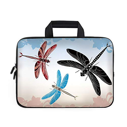 - Dragonfly Laptop Carrying Bag Sleeve,Neoprene Sleeve Case/Exotic Dragonflies Flying in Cloud Sky Animal Wing Nature Illustration Decorative/for Apple Macbook Air Samsung Google Acer HP DELL Lenovo Asu