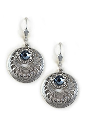 Clara Beau Deco Flower Medium Round Swarovski crystal dangle earrings EW19 Silver-Tone - Denim (Swarovski Medium Flower)
