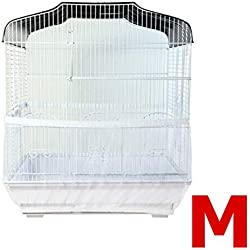 Topsair Seed Catcher for Bird Cages Outdoor Feeders Parrot Net Cover Up Dress Large Nylon Soft Ventilation Sheer Guard Bird Cage Accessories M White