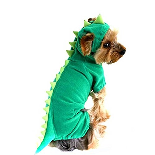Large Dog Velvet Dinosaur Costume Apparel Halloween Pet Warm Suit Hoodie Coat (M, (Dinosaur Dog Costume)
