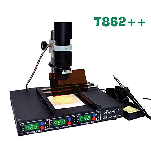 Mandycng Commercial Infrared Circuit Board Heating Rework Station, BGA IRDA Iron Welder T-862++ Game Mainboard Repairing Rework Device Engineering Laboratory Electronics Parts Repairing