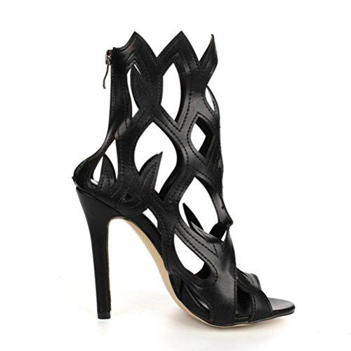 romanas de gran fiesta femeninas alto mujeres boca Las a hebilla tacones zapatos de de mujer tacón QPYC cielo sandalias tamaño Negro zapatos sandalias altos pescado abierto de xUavOqx1w