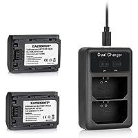 EACHSHOT NP FZ100 2PCS NP-FZ100 Battery + LCD Dual Battery Charger Kit for Sony A9 A7R3 A7M3 A7R III A7 III
