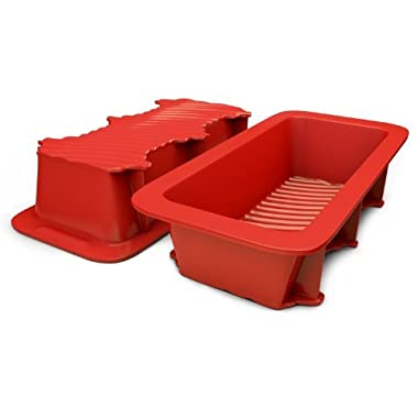 Silicone Bread and Loaf Pan Set of 2 Red, Nonstick, Commercial Grade Plus Bread Recipe Ebook