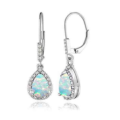 Sterling Silver Created White Opal Teardrop Leverback (Created Opal Jewelry)
