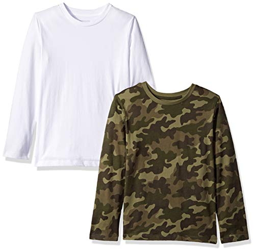 Amazon Essentials Big Boys' 2-Pack Long-Sleeve Tees, Camo Print, Olive and White, XL(12)