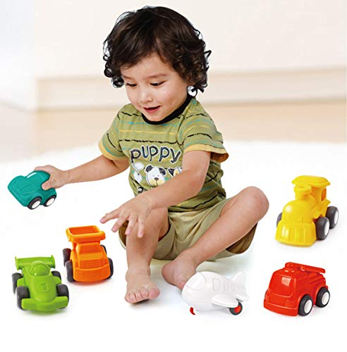 HOLA 6 Pack Toy Cars for Toddlers, Vehicle Toys Set - Push and Go Airplane, Train, Car, Fire Engine, Race Car, Dump Truck Toys, Outside Educational Toy Trucks for Boys Girls Age 2-3 1 2 3 Year Old