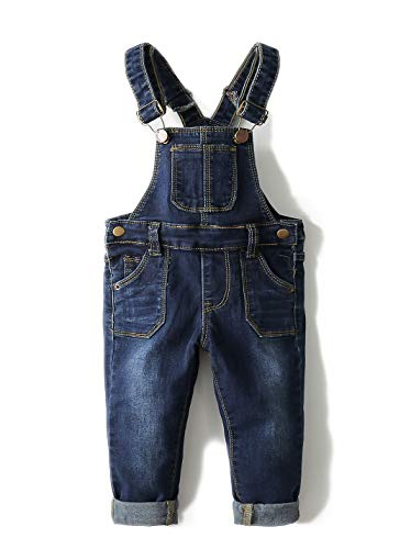 Kidscool Baby & Toddler Adjustable Deep Blue Washed Jeans Overalls,4-5 Years, Deep Blue-6711