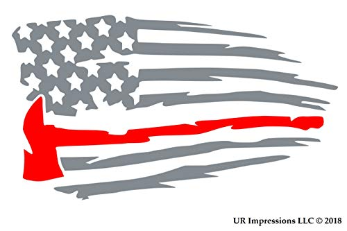UR Impressions Silv Thin Red Line Fireman's Axe - Tattered American Flag Decal Vinyl Sticker Graphics for Cars Trucks SUV Vans Walls Windows Laptop|Silver & RED|7.5 X 4.3 Inch|URI658-S