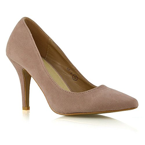ESSEX GLAM Womens Stiletto Mid Heels Pointed Toe Ladies Party Office Court Shoes Pumps 3-9 Nude Faux Suede 6gZVdhVw
