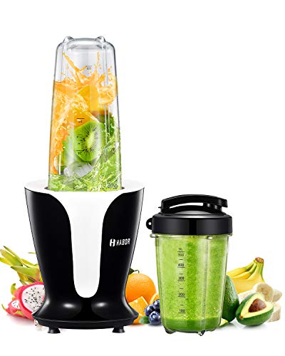 Habor Smoothie Blender, Shakes Blender with 900 Watt and 18000 RPM High Speed Quite Motor, BPA Free Smoothie Mixer with 2 Large Tritan Travel Cups 32oz/18oz, Portable Personal Blender for Home/Kitchen by Habor