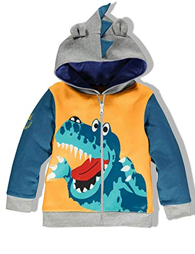 YOUNGER TREE Toddler Boys Cartoon Dinosaur Hoodie Jacket Kids Cool Long Sleeve Zipper Hooded Sport Sweatshirt (4-5 Years, Yellow)