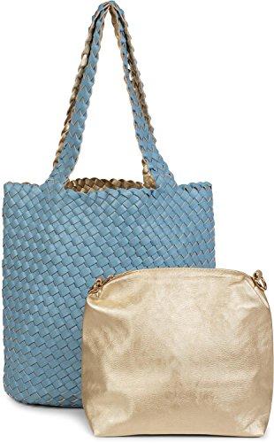 styleBREAKER Sac réversible avec effet tressé, cabas, ensemble de 2 sacs à main, 2 sacs en 1, sac à main, femmes 02012182, couleur:Blanc/argenté Bleu Clair/Or
