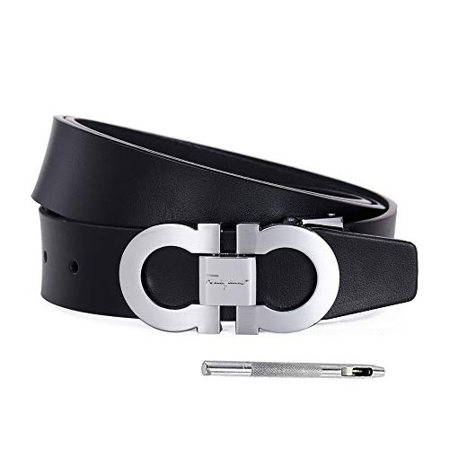 Men's Genuine Leather Belt Adjustable Buckle, by Trim to Fit (FC silver-blackB, Adjustable from 26