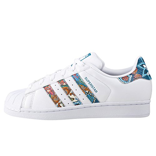 Adidas Womens Superstar W, White / Noble Teal, 7.5 Us
