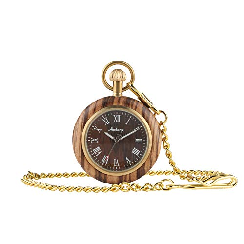 (Creative Vintage Wooden Pocket Watch Roman Numerals for Men Christmas Gifts Wood Quartz Pocket Watches with Gold Chain)