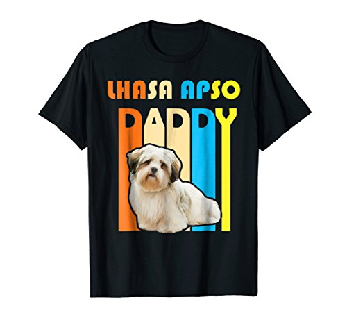 Retro Vintage Daddy LHASA APSO T-Shirt- Father's Day Gift