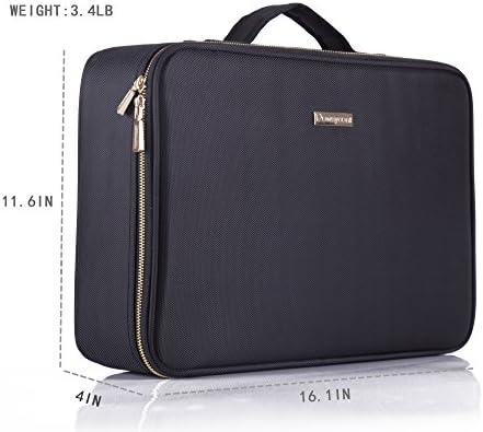 "ROWNYEON Travel Makeup Bag Cosmetic Makeup Train Case Artist Makeup Organizer Professional Portable Storage Bag for Women Girl Waterproof EVA Adjustable Dividers 16.1"" Large Black"