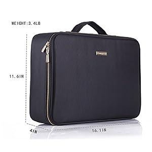ROWNYEON Travel Makeup Bag Cosmetic Makeup Train Case Artist Makeup Organizer Professional Portable Storage Bag for…