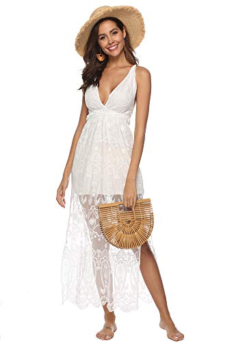 - Eleter Women's Deep V-Neck Lace Romper Short Sleeve Long Dress (Medium, White-style2)