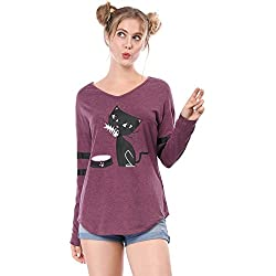 Allegra K Women's V Neck Drop Shoulder Striped Cat Print Tunic Top XS Purple1