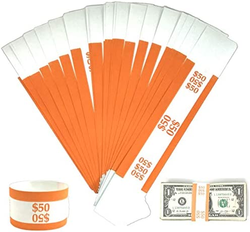 1000 Self Sealing BLUE $100 Currency Straps Money Bills Paper Bands Made in USA